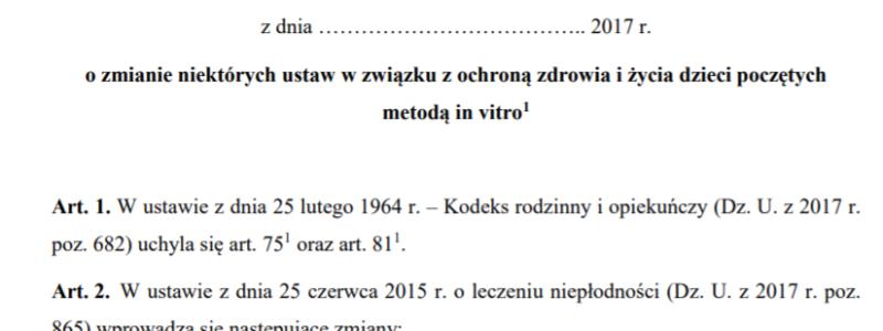 Projekt ustawy in vitro unicestwi IVF